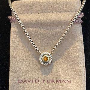 David Yurman SS/14K/Citrine Cookie Necklace